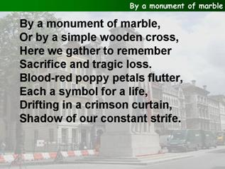 By a monument of marble