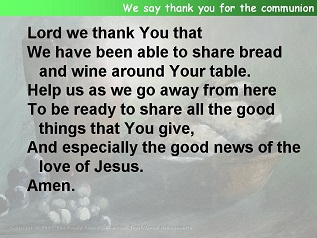 The post communion prayer from all included for september